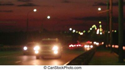 efocused Night Traffic On Freeway In Russia