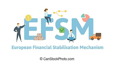 EFSM, European Financial Stabilisation Mechanism. Concept with keywords, letters and icons. Flat vector illustration. Isolated on white background.