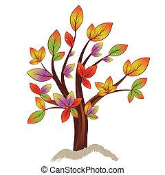 efterår, abstrakt, træ, farverig
