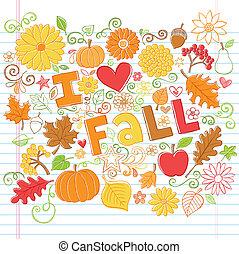 efterår, doodles, sketchy, vektor, fald