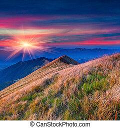 efterår, farverig, bjerge., landskab