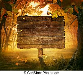 efterår, konstruktion, -, skov, tegn