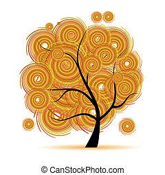 efterår, kunst, træ, fantasien, sæson