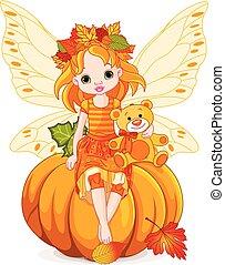 efterår, liden, fairy