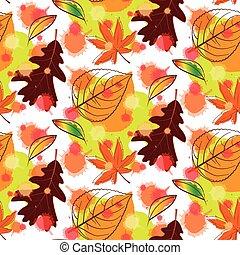 efterår, mønster, seamless, farverig