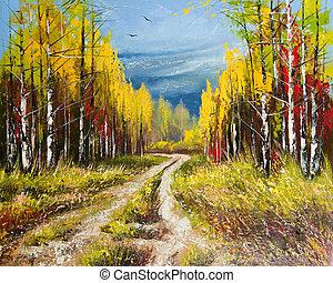 efterår, maleri, olie, -, guld