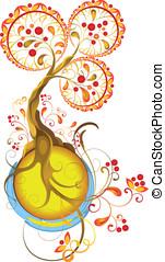 efterår, ornamental, firmanavnet, træ