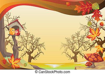 efterår, sæson, eller, baggrund, fald