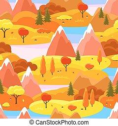 efterår, seamless, mønster, hos, træer, bjerge, og, hills., sæsonprægede, landskab, illustration