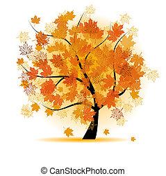efterår, træ, blad, ahorn, fald