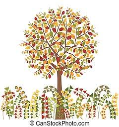 efterår, træ, farverig, baggrund