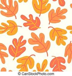 efterår, væv, blad, banner, mønster, eg, seamless, guld, gul...