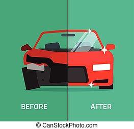 efter, service, kraschat, bil, bruten, underhåll, bil, reparera, för
