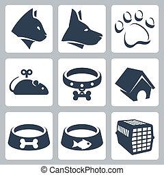egér, kutya, ikonok, kedvenc, golyózás, macska, vektor, set:, gallér, kalitka, falka, pawprint