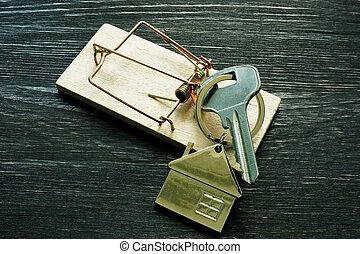 egérfogó, jelzálog, scam., otthon, keys., vesz épület, csalás
