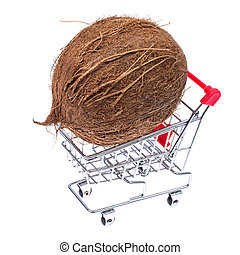 egész, kókuszdió, bevásárlókocsi