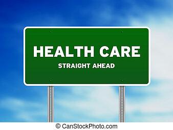 egészségügyi ellátás, autóút cégtábla