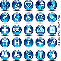 egészségügyi ellátás, ikonok, glossza
