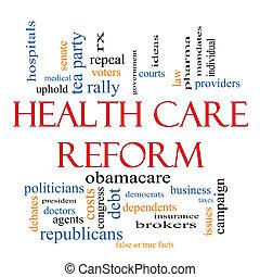 egészségügyi ellátás, reform, szó, felhő, fogalom