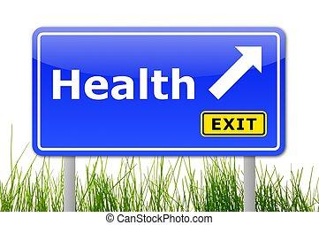 egészség, út cégtábla