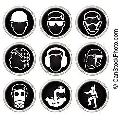 egészség, biztonság, ikonok