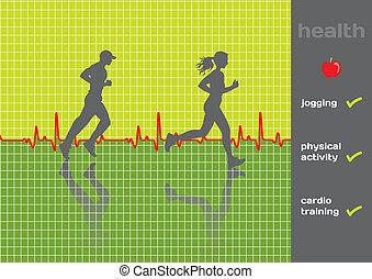 egészség, concept:, fizikai