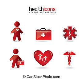 egészség, ikonok