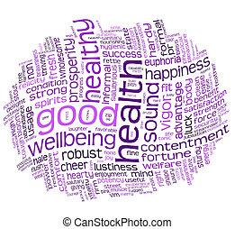 egészség, jó, wellbeing, felhő, címke