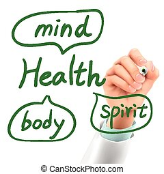 egészség, orvos, szó, írás