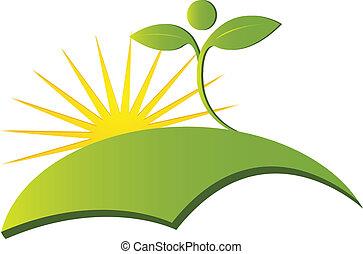 egészség, természet, jel, vektor