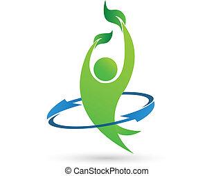 egészség, természet, vektor, jel