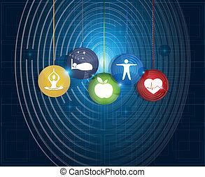 egészséges élénk, kerek, jelkép