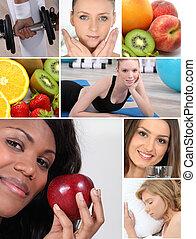 egészséges élénk, montázs, themed