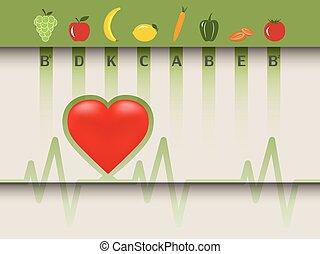egészséges, élelmiszer, szív