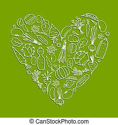 egészséges, élet, -, szív alakzat, noha, növényi, helyett, -e, tervezés