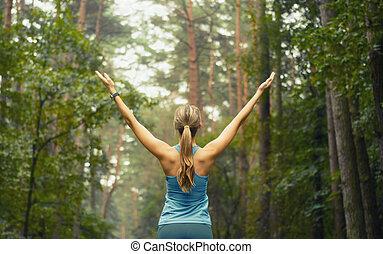 egészséges életmód, állóképesség, sportszerű, nő, korán, alatt, erdő, terület