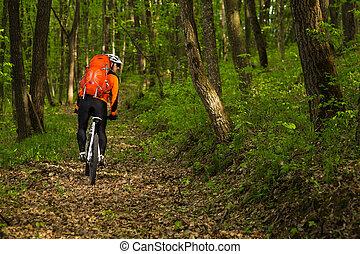egészséges életmód, és, állóképesség, fogalom, noha, felmegy, bicikli, ember, külső