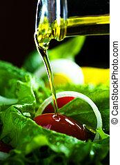 egészséges, öntés, olaj, olajbogyó, saláta