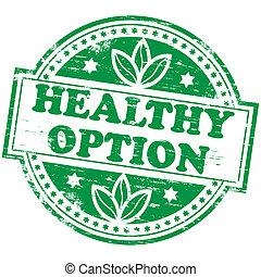egészséges, bélyeg, opció