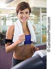 egészséges, barna nő, futás, képben látható, a, taposómalom