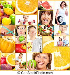 egészséges, collage., életmód, emberek