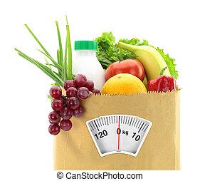 egészséges, diet., friss táplálék, alatt, újság, táska