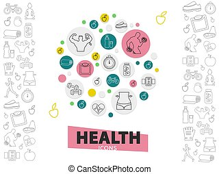 egészséges, egyenes, életmód, gyűjtés, ikonok
