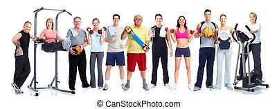 egészséges, emberek., csoport, állóképesség