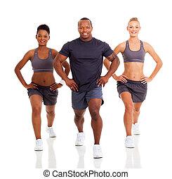 egészséges, emberek, gyakorlás, három