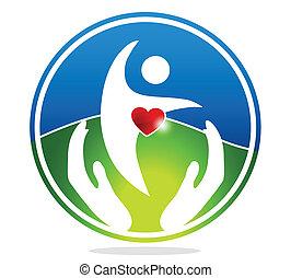 egészséges, emberi, és, egészséges szív, sym