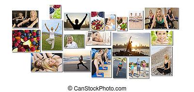egészséges, férfiak, nők, emberek, életmód, &, gyakorlás