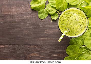 egészséges, falusias, smoothie, erdő, zöld háttér