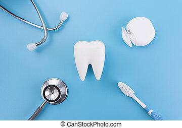 egészséges, fogászati felszerelés, eszközök, helyett, fogászati törődik, profi, fogászati, fogalom
