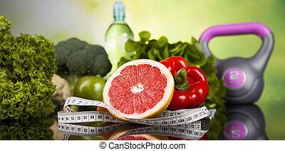 egészséges, fogalom, életmód, vitaminok, zenemű